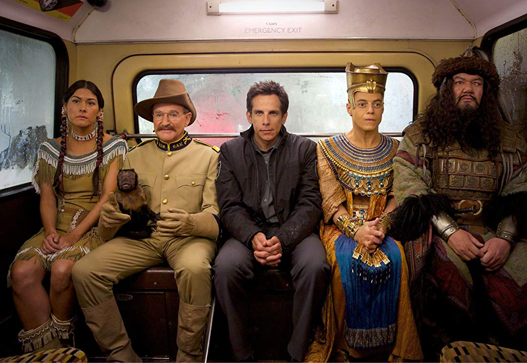 Sacajewa (Mizuo Peck), Teddy Roosevelt (Robin Williams), Larry Daley (Ben Stiller), Akmenrah (Rami Malek) and Attila the Hun (Patrick Gallagher) in Night at the Museum: Secret of the Tomb (2014)