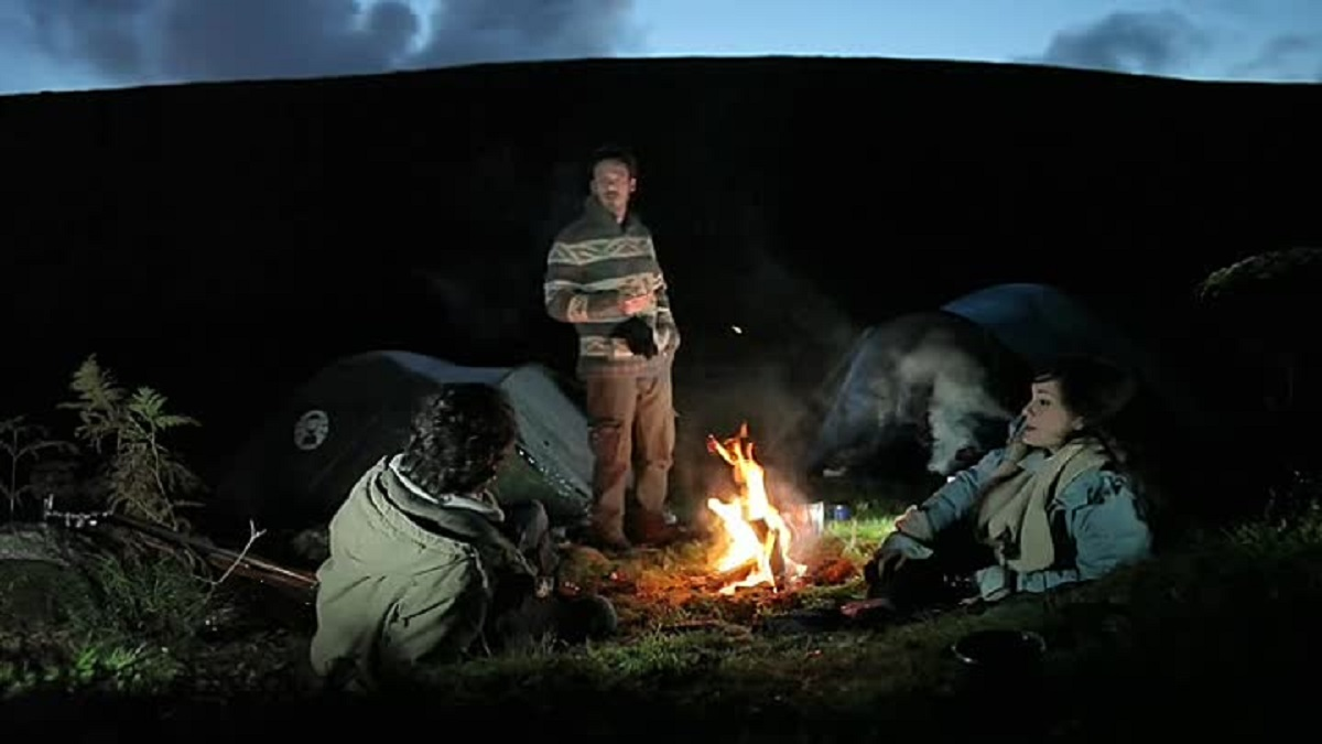 Camping on the moors - (l to r) Andrew Hawley, Scoot McNairy and Anna Skellern in A Night in the Woods (2011)
