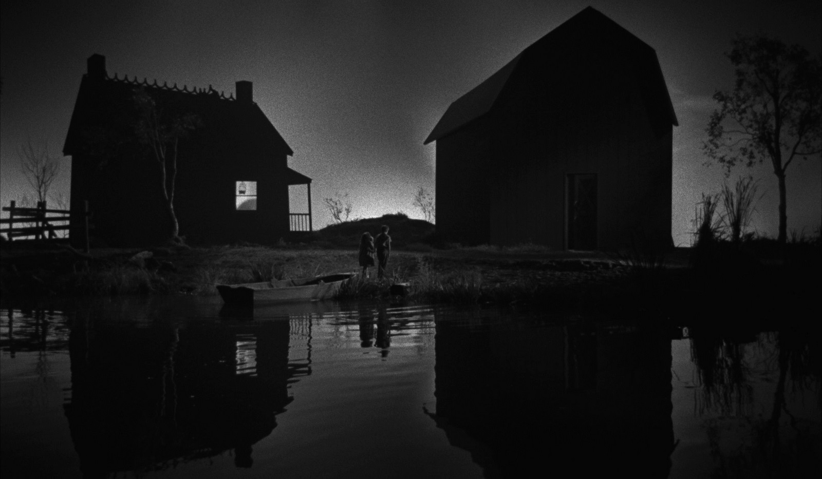 The two children in their extraordinarily stylised journey down the river in The Night of the Hunter (1955)
