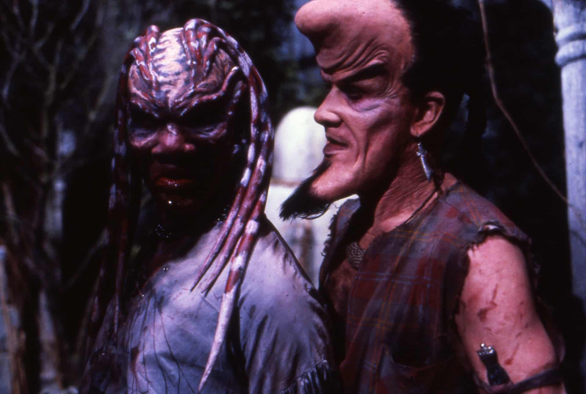 Peloquin (Oliver Parker) and Kinski (Nicholas Vince) - two of the extraordinary makeup creations for the Breed in Nightbreed (1990)