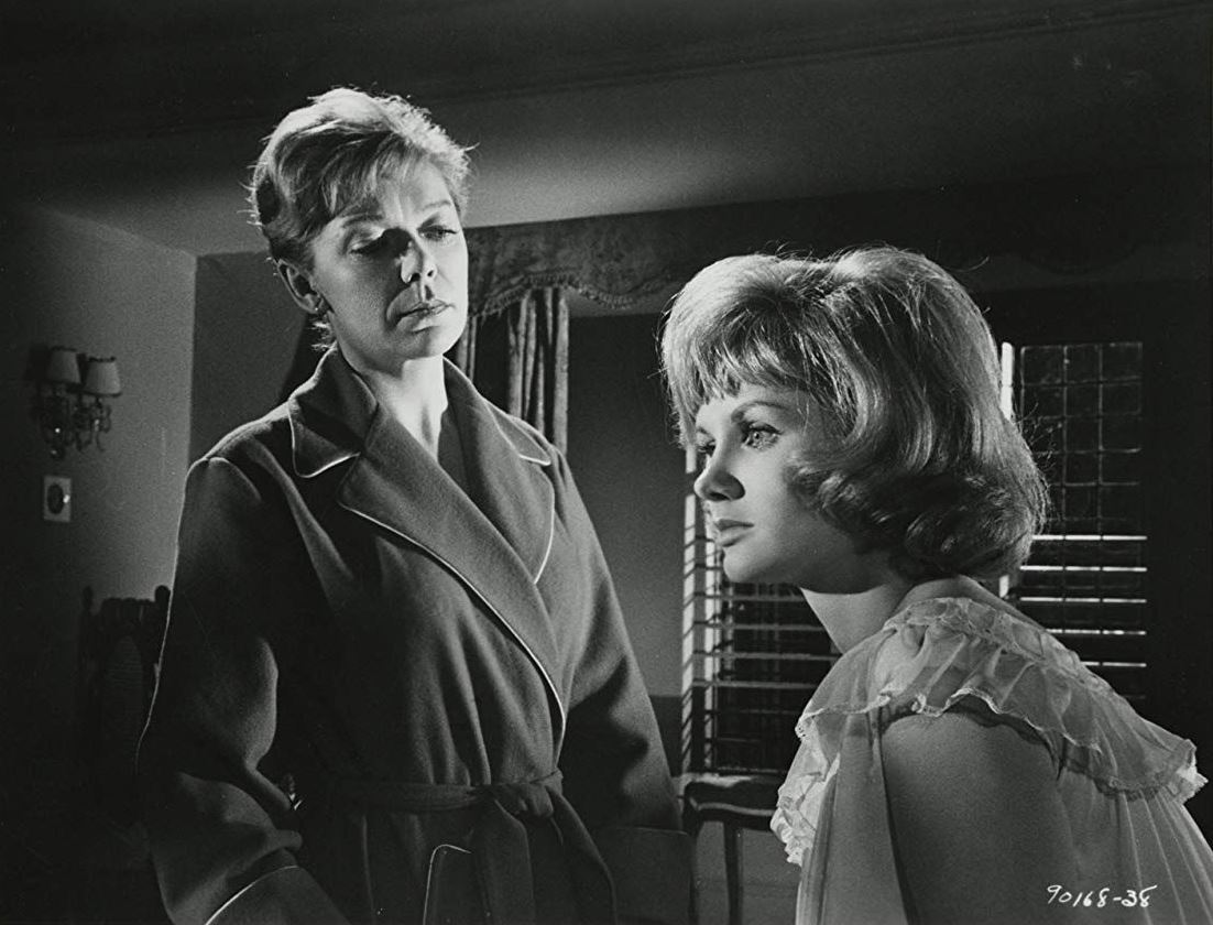 (l to r) teacher Brenda Bruce and a fear-fraught Jennie Linden in Nightmare (1964)