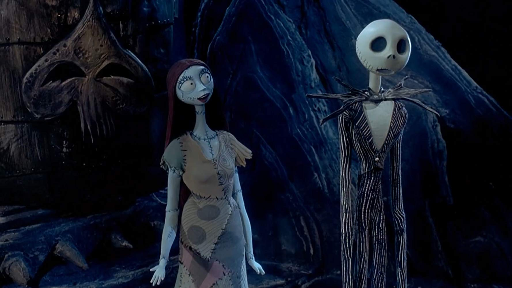 Jack Skellington (voiced by Chris Sarandon) and Sally (voiced by Catherine O'Hara) in The Nightmare Before Christmas (1993)