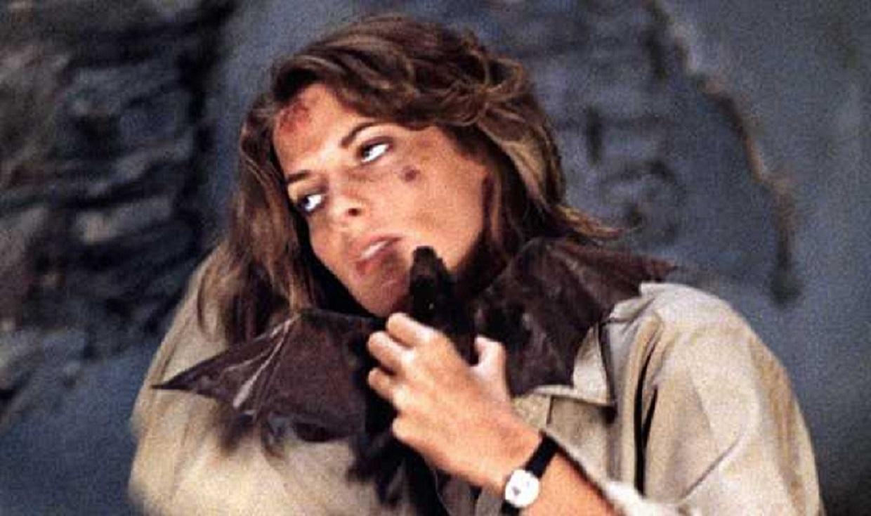 Kathryn Harorld under attack by vampire bat in Nightwing (1979)