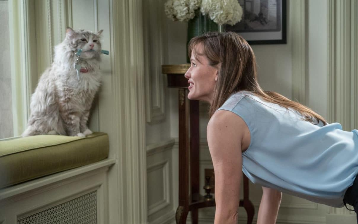 Jennifer Garner deals with her husband who has been incarnated in a cat's body in Nine Lives (2016)