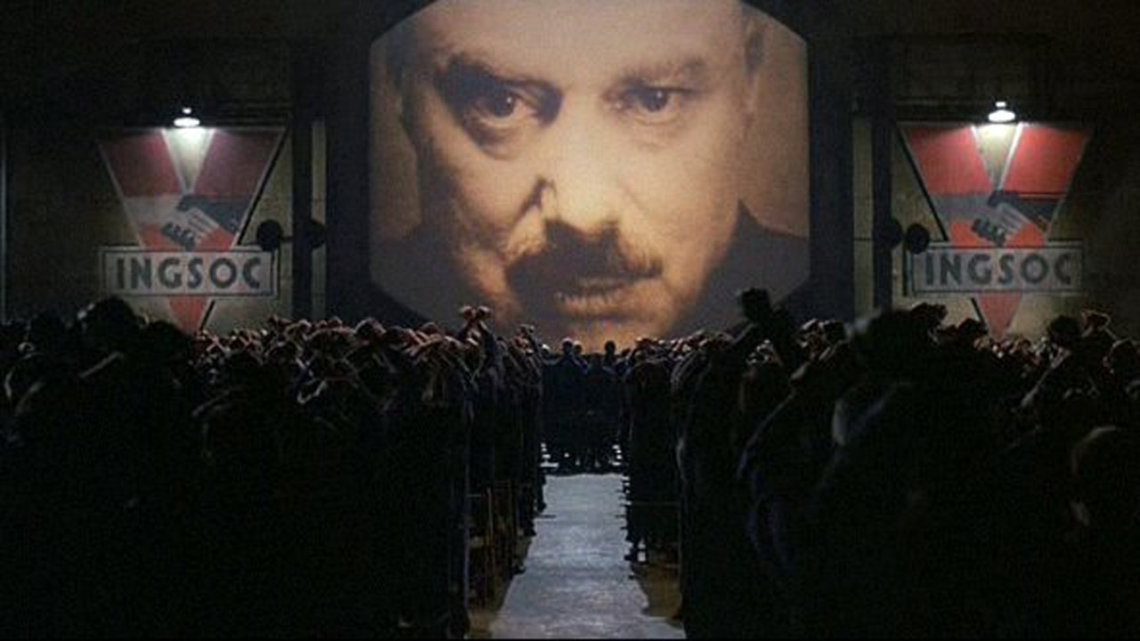 The Two Minute Hare under the watchful eye of Big Brother in Nineteen Eighty Four (1984)