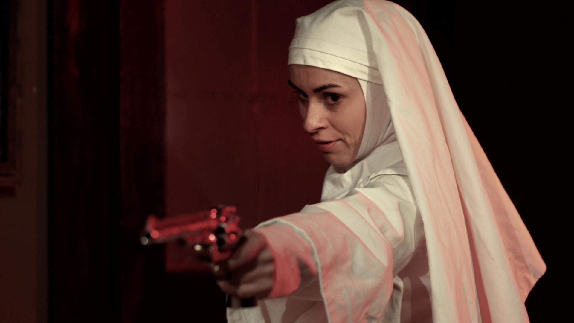 A gun-toting Sister Sarah (Asun Ortega) in Nude Nuns with Big Guns (2010)