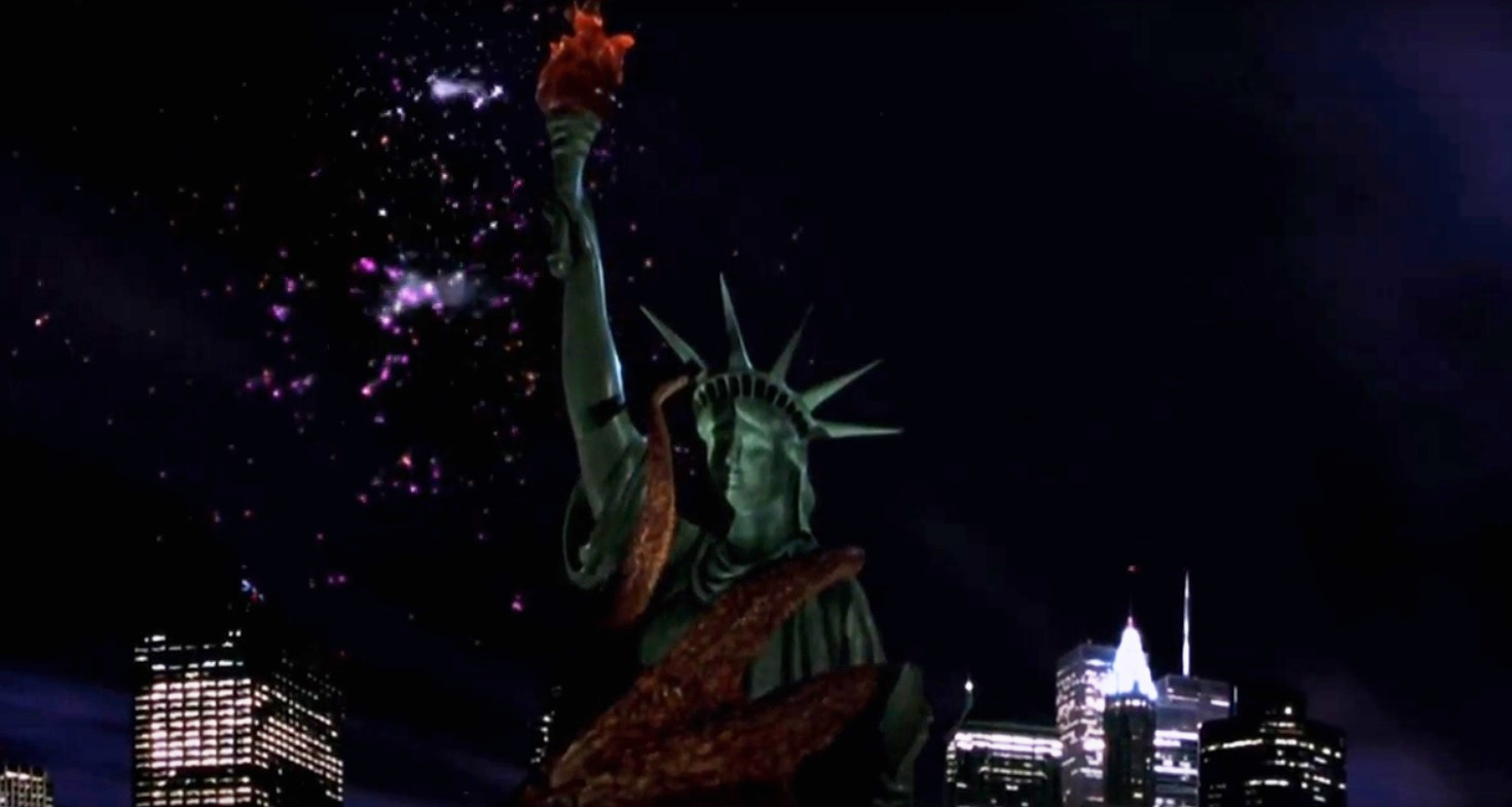 The giant octopus attacks the Statue of Liberty in Octopus II (2001)
