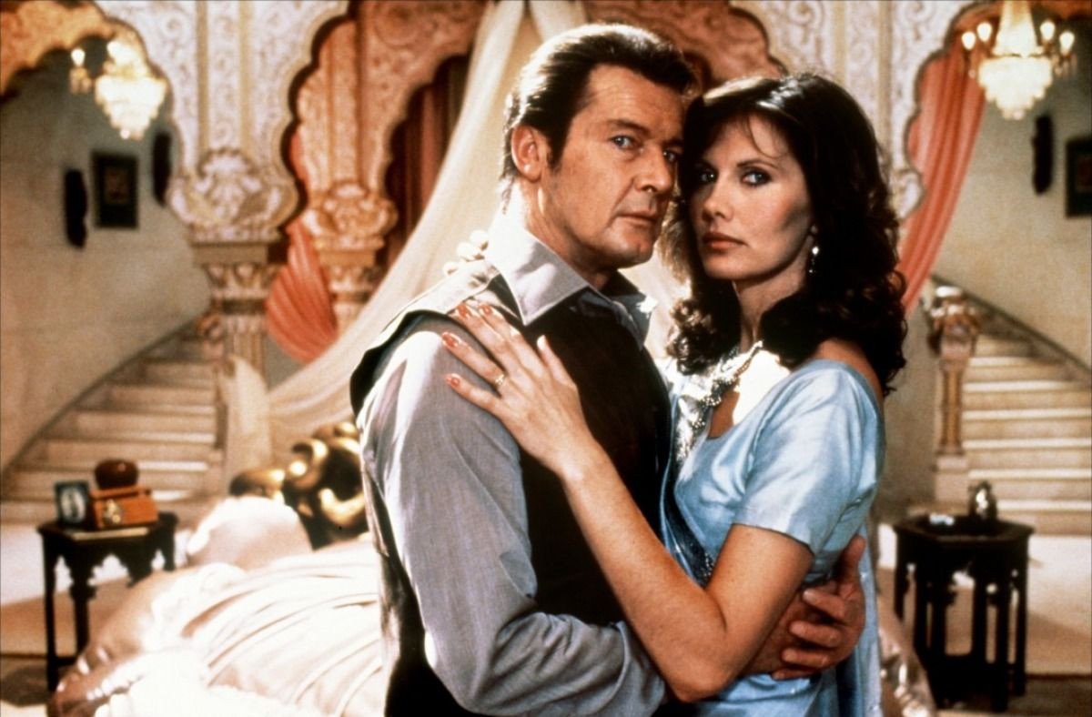 Roger Moore as James Bond with Maud Adams as Octopussy (1983)