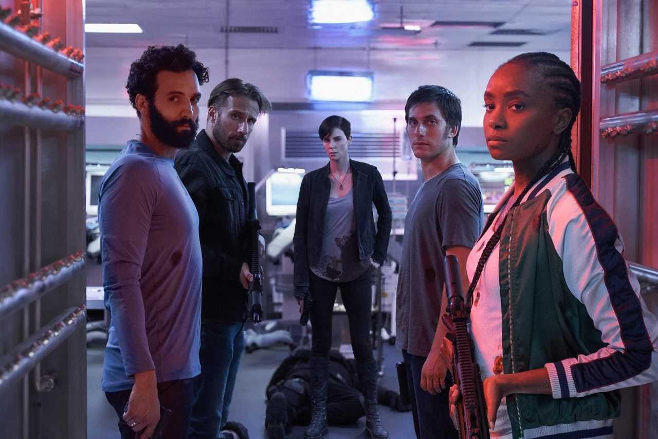 Joe (Marwan Kenzari), Booker (Matthias Schoenaerts), Andy (Charlize Theron), Nicky (Luca Marinelli) and Nile (Kiki Lane) in The Old Guard (2020)