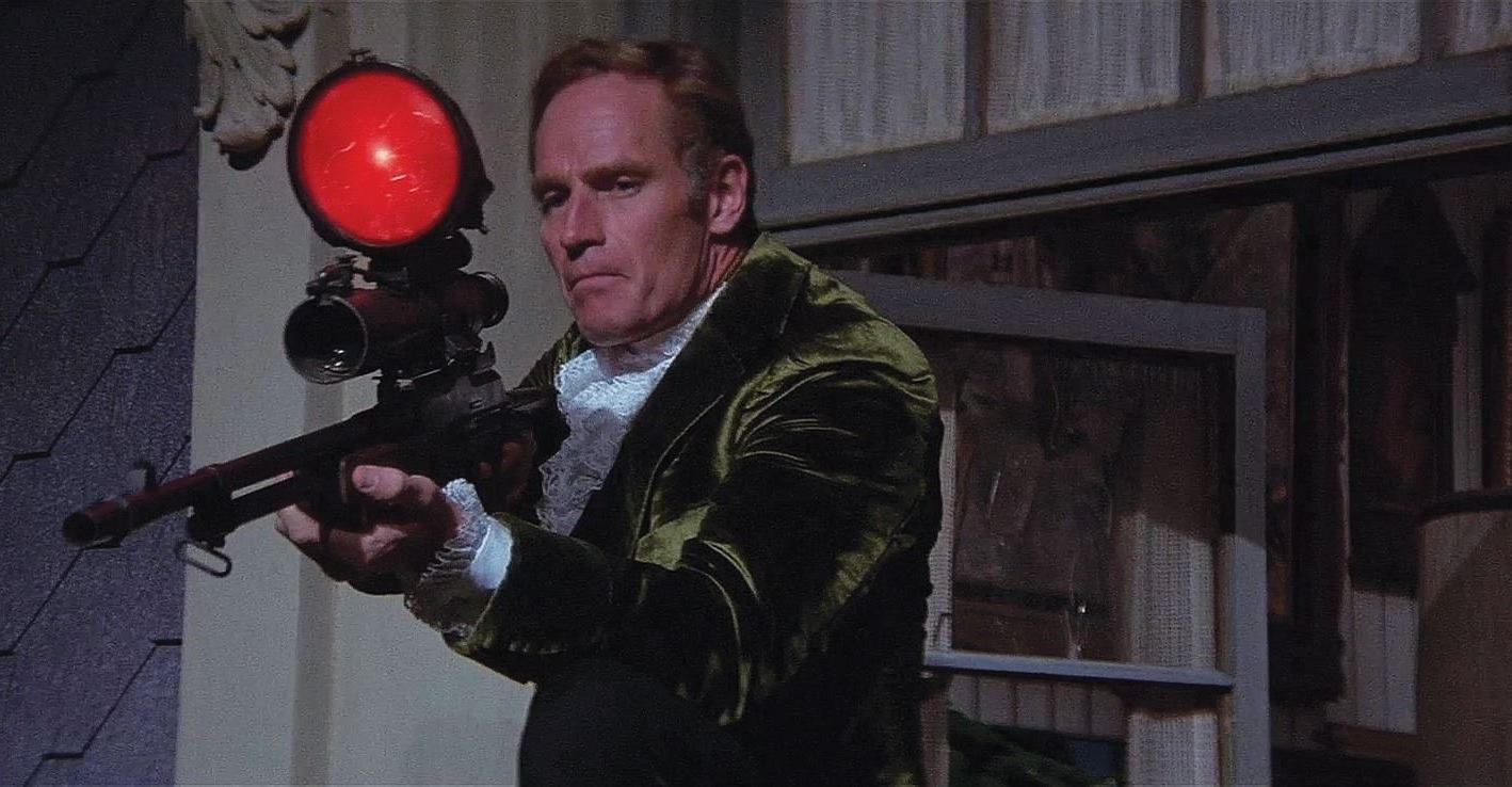 Robert Neville (Charlton Heston) shoots at the mutants in The Omega Man (1971)