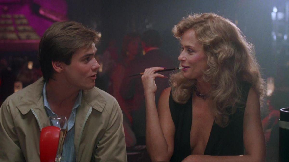Virginal Jim Carrey falls prey to Lauren Hutton's vampire countess in Once Bitten (1985)