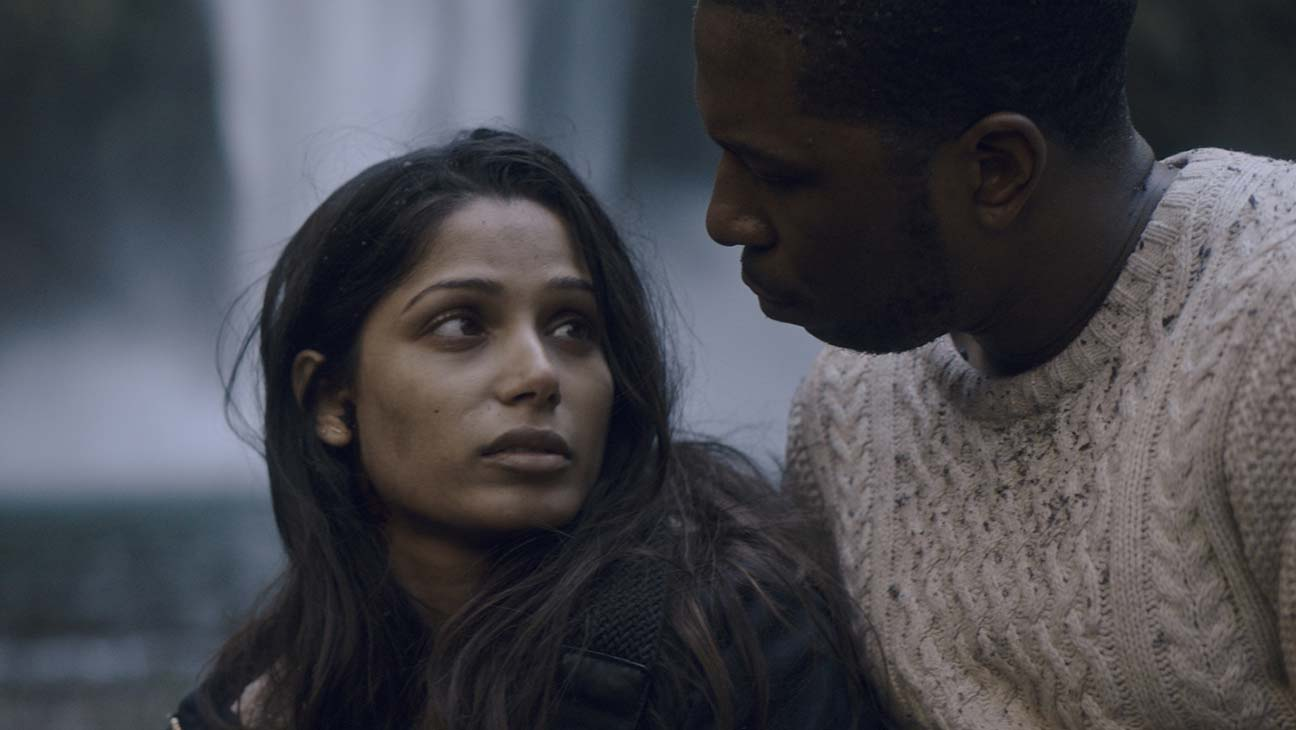 Will (Leslie Odom, Jr.) with Eva (Freida Pinto), possibly the last woman on Earth in Only (2019)