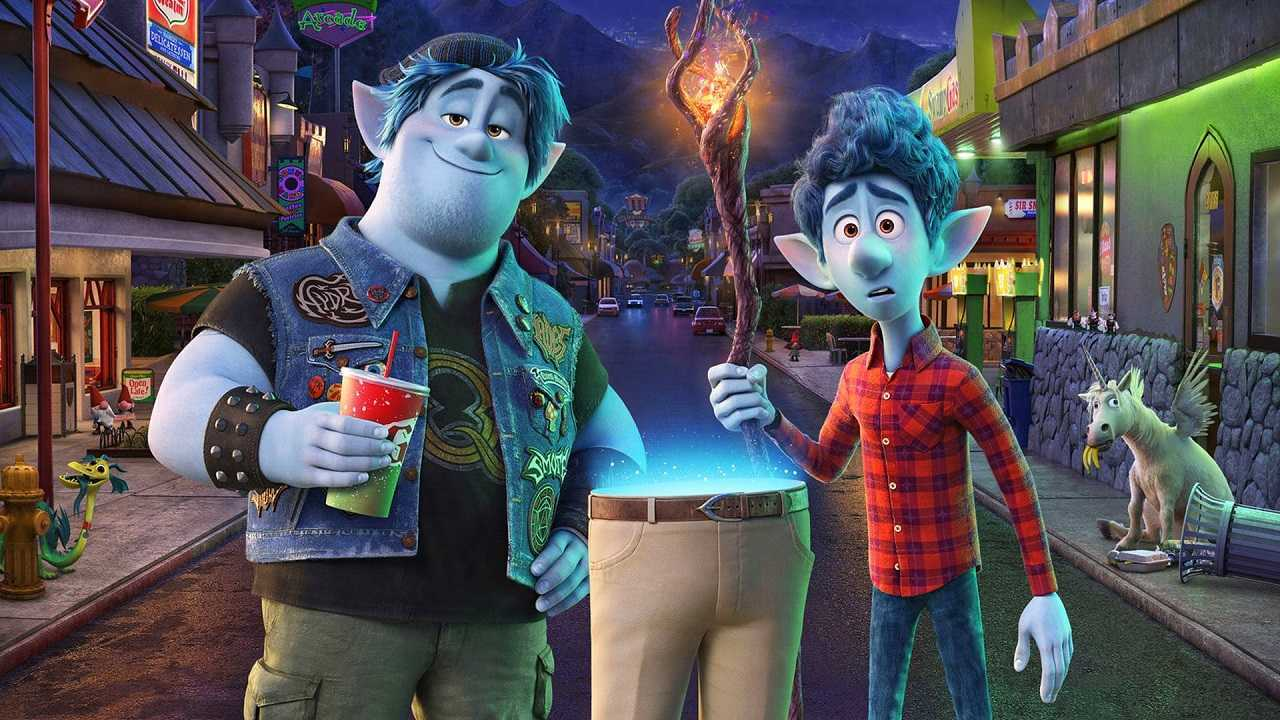 Brothers Barley (voiced by Chris Pratt) and Ian (voiced by Tom Holland) along with their father's resurrected legs in Onward (2020)