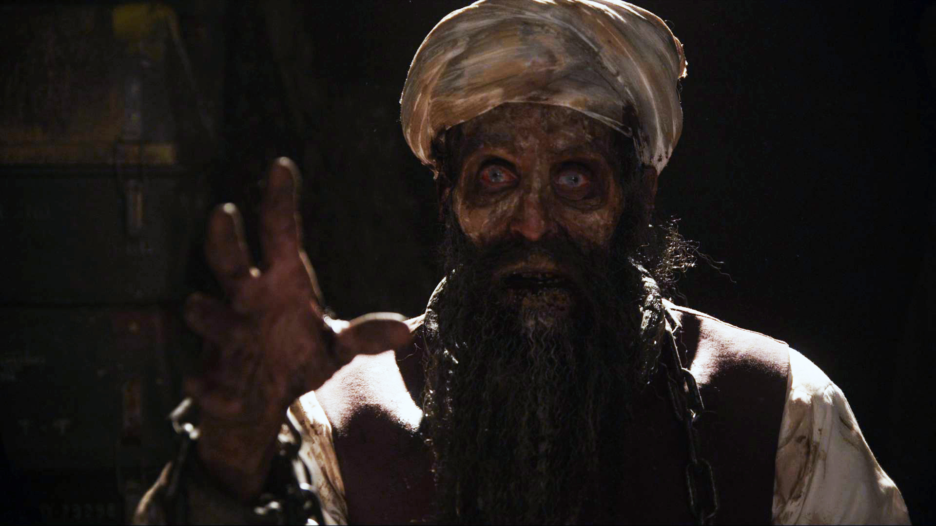 Osama bin Laden as a zombie in Osombie (2012)