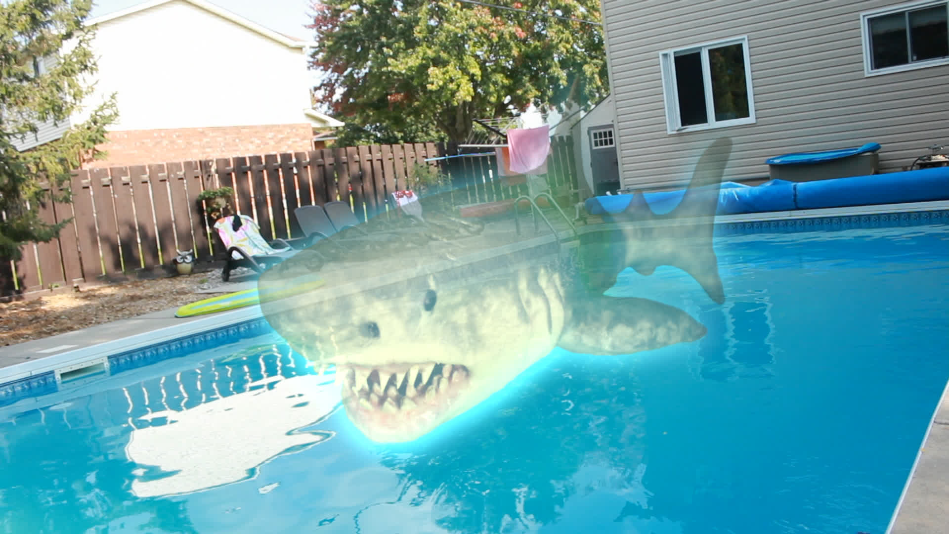 The ghost killer shark hovers above the swimming pool in Ouija Shark (2020)