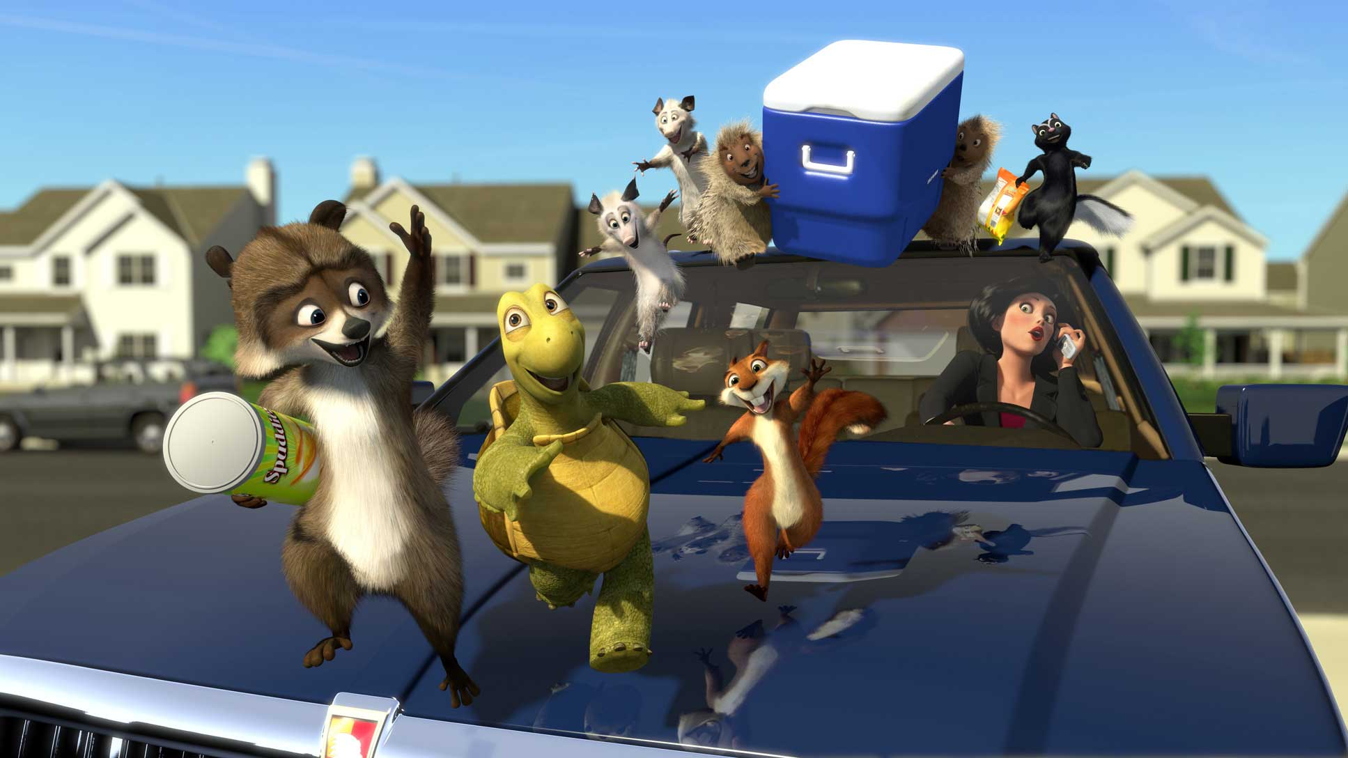 The animals conduct a raid on the housing estate in Over the Hedge (2006)