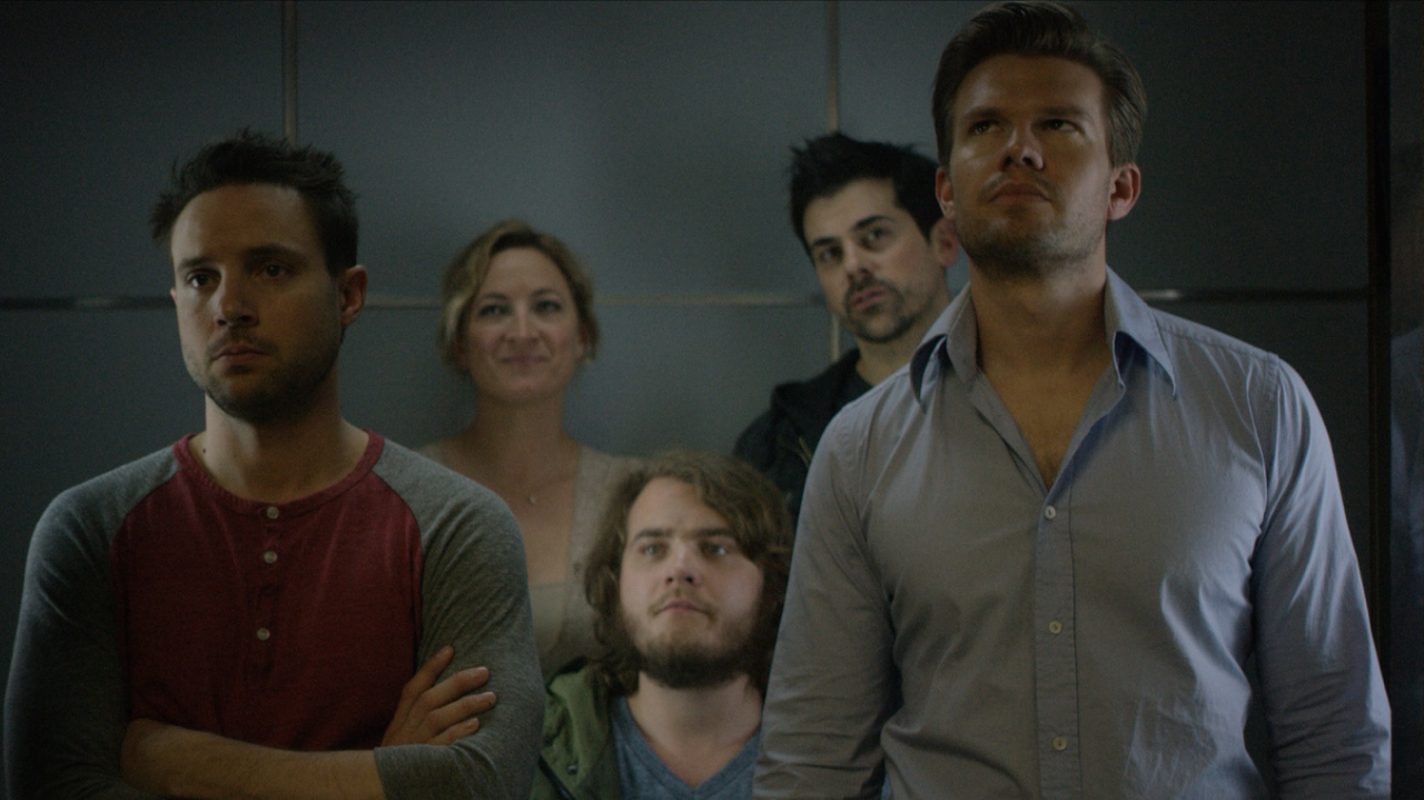 (l to r) Michael Aaron Milligan, Zoë Bell, Bjorn Alexander, Adam Huss and Brian Flaccus in Paradox (2016)