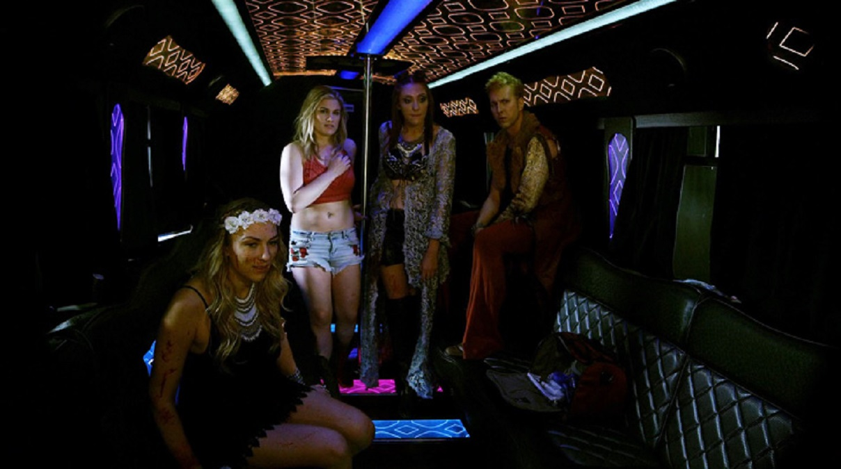 Aboard the party bus - (l o r) ViDonna Michaels, Stefani Blake, Shelby McCullough and Ben Stobber in Party Bus to Hell (2017)