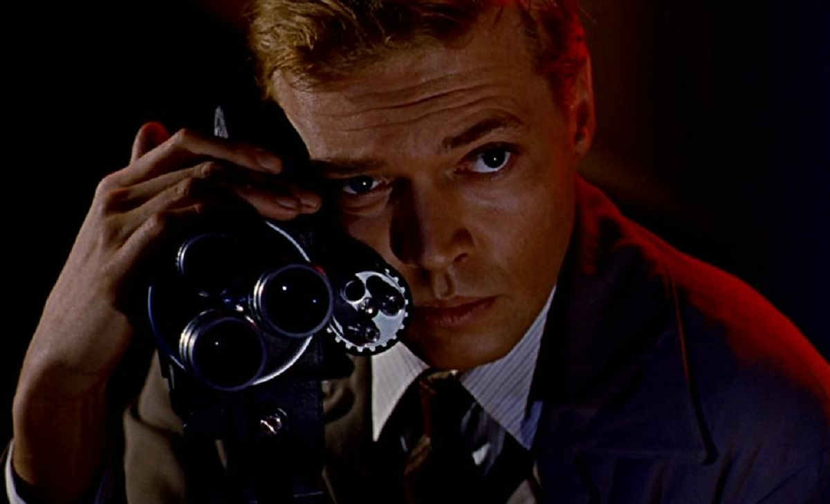 Mark Lewis (Carl Boehm) with his 16mm camera in Peeping Tom (1960)