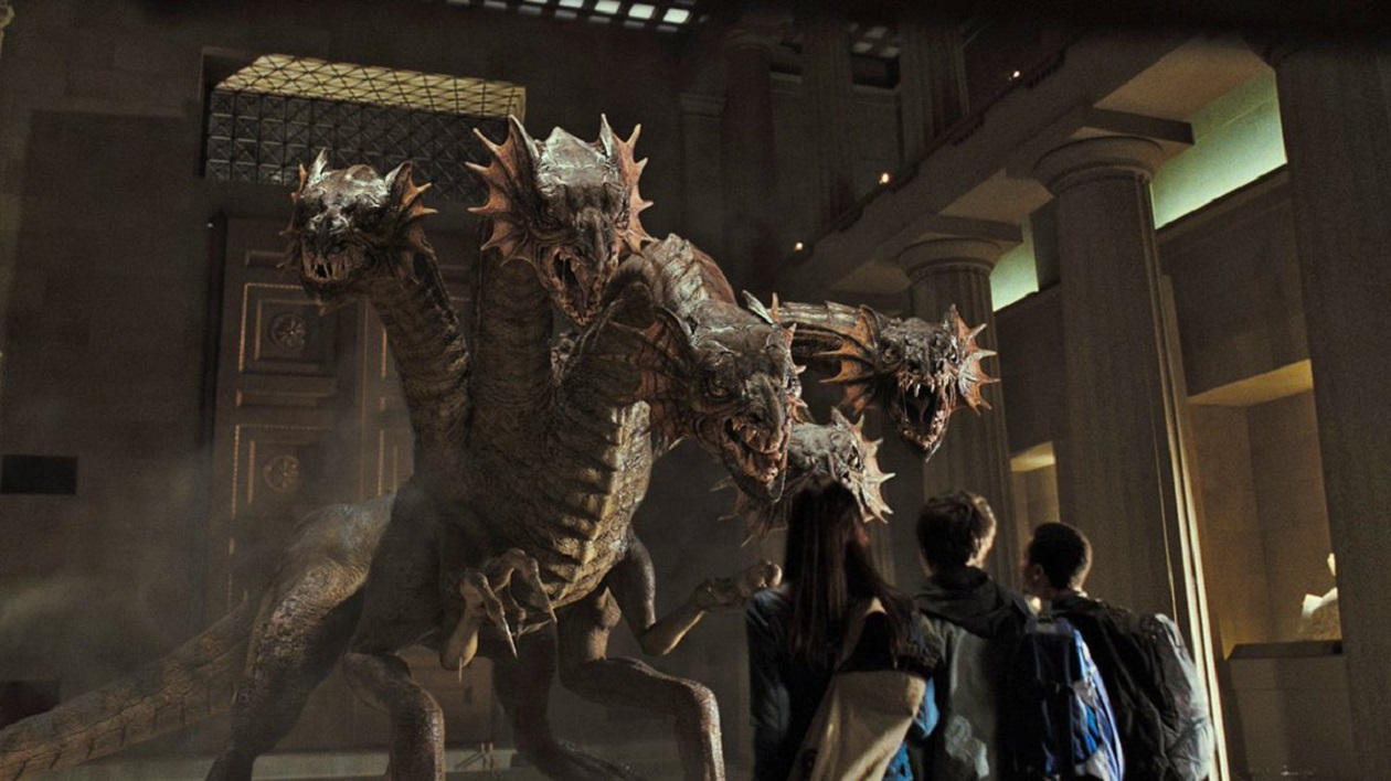 Annabeth, Percy and Grover encounter the unleashed Fury at the museum in Percy Jackson & The Olympians: The Lightning Thief (2010)