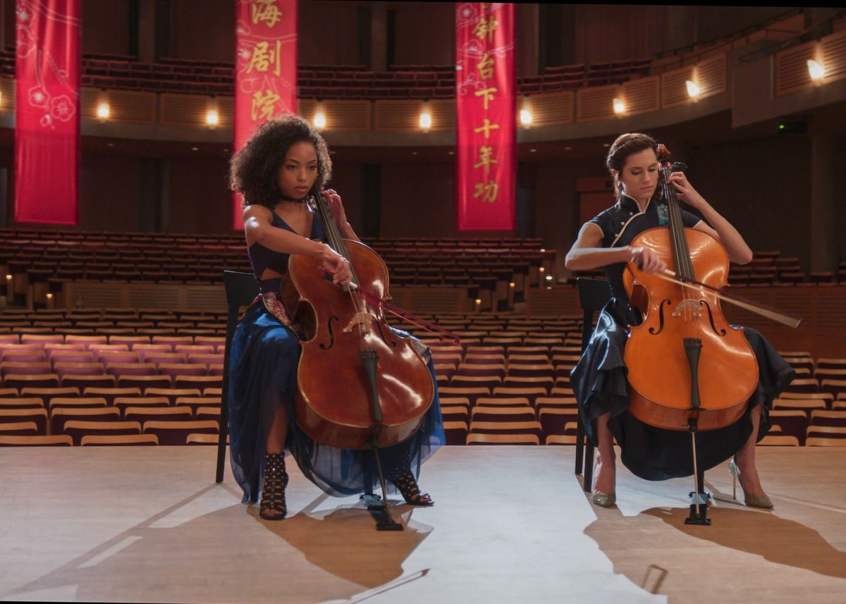 Rivals/lovers in classical music - (l to r) Logan Browning and Allison Williams in The Perfection (2018)