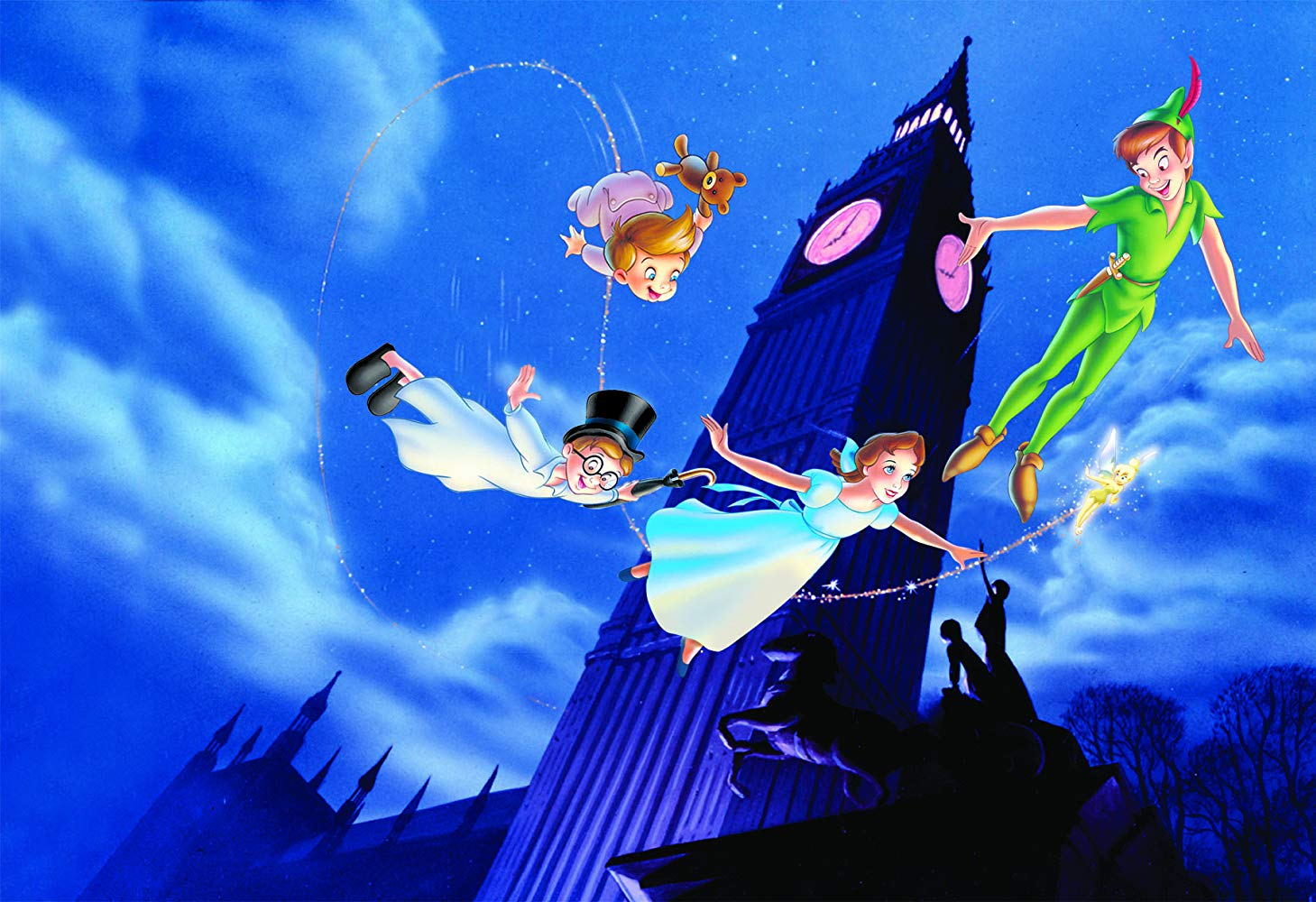 (clockwise from right) Peter Pan flies off to never Never Land accompanied by Tinkerbell, Wendy and her brothers John and Michael in Peter Pan (1953)