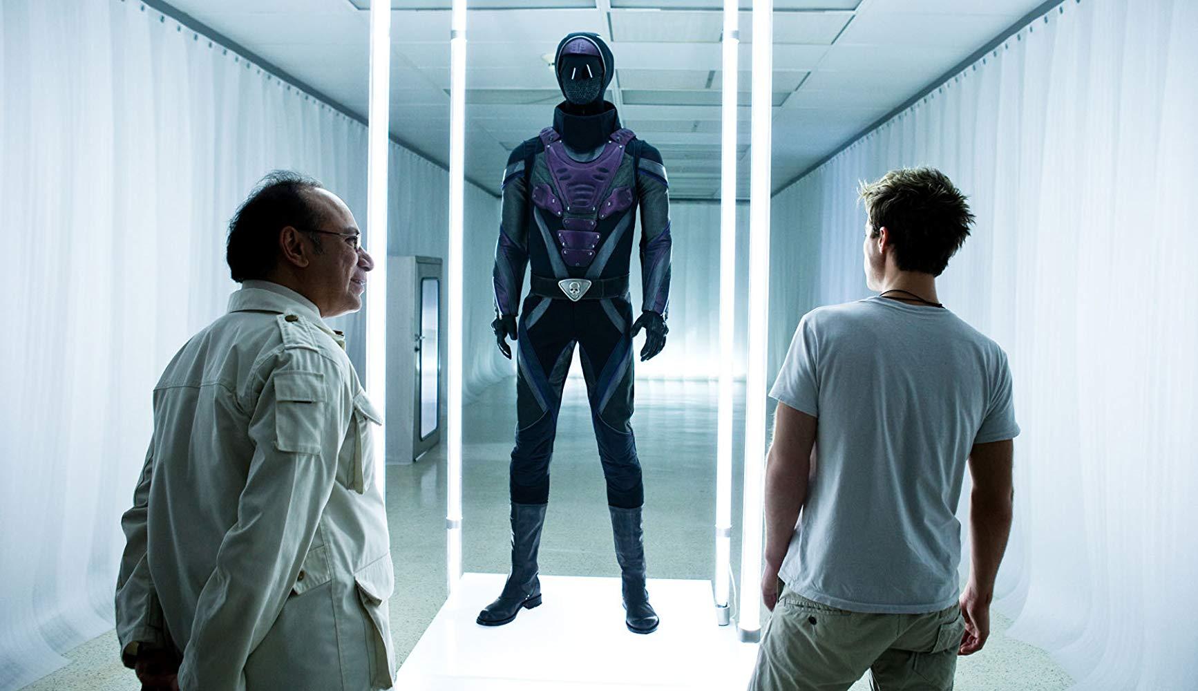 Kit Walker (Ryan Carnes) is introduced to the modernised Phantom costume in The Phantom (2009)