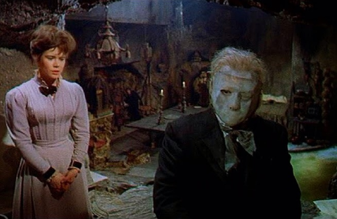 The Phantom (Herbert Lom) takes Christine Charles (Heather Sears) for personal music tuition in The Phantom of the Opera (1962)