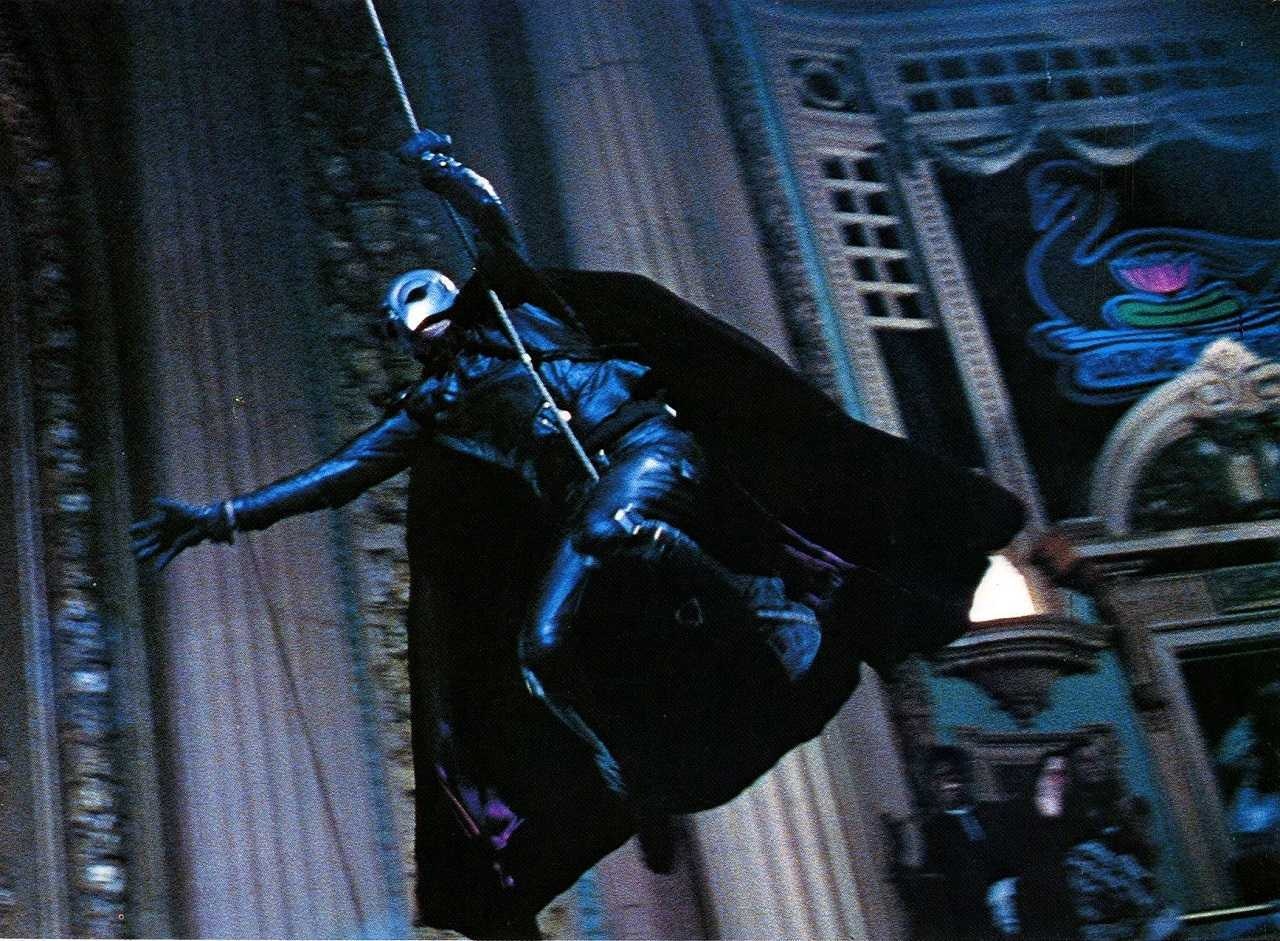 The Phantom (William Finley) swings across the auditorium in The Phantom of the Paradise (1974)
