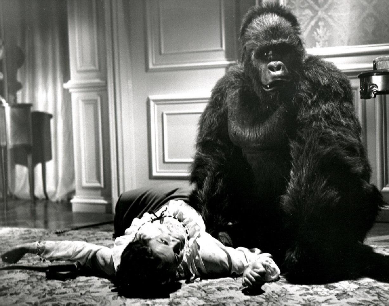 The killer ape strikes in Phantom of the Rue Morgue (1954)