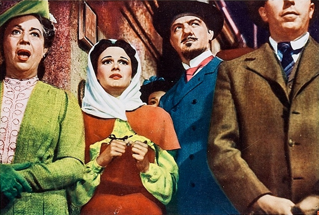 Mad zookeeper Karl Malden with Patricia Medina in Phantom of the Rue Morgue (1954)