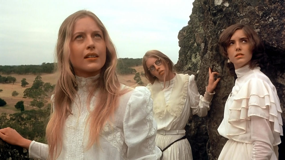 The girls venture up onto the rock - Anne-Louise Lambert, Jane Vallis, Karen Robson - in The Picnic at Hanging Rock (1975)