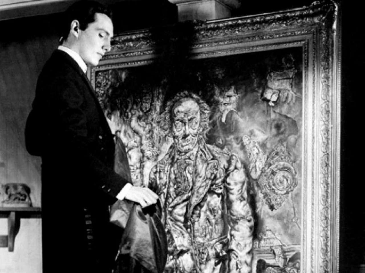 Dorian Gray (Hurd Hatfield) and his portrait in The Picture of Dorian Gray (1945)