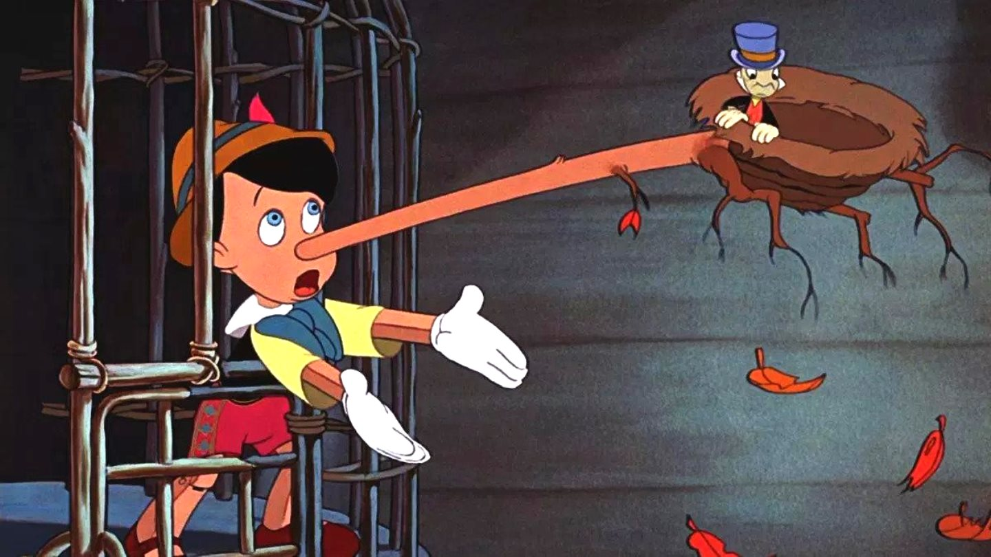 Pinocchio's nose starts growing after he tells a lie. With Jiminy Cricket on the end in Pinocchio (1940)