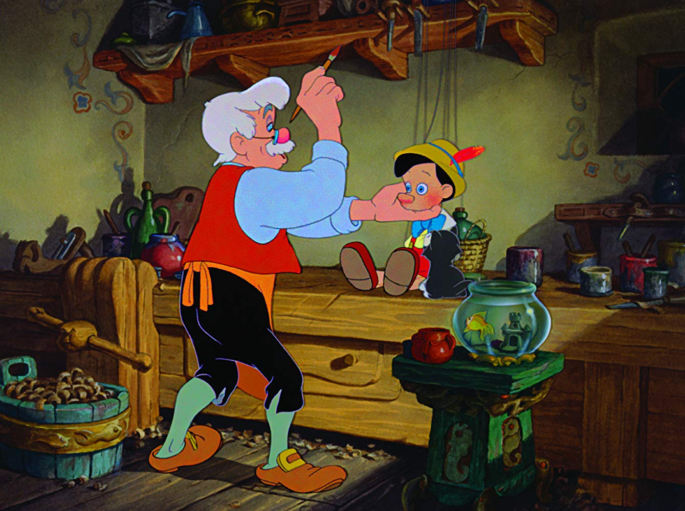 Gepetto brings Pinocchio to life in Pinocchio (1940)
