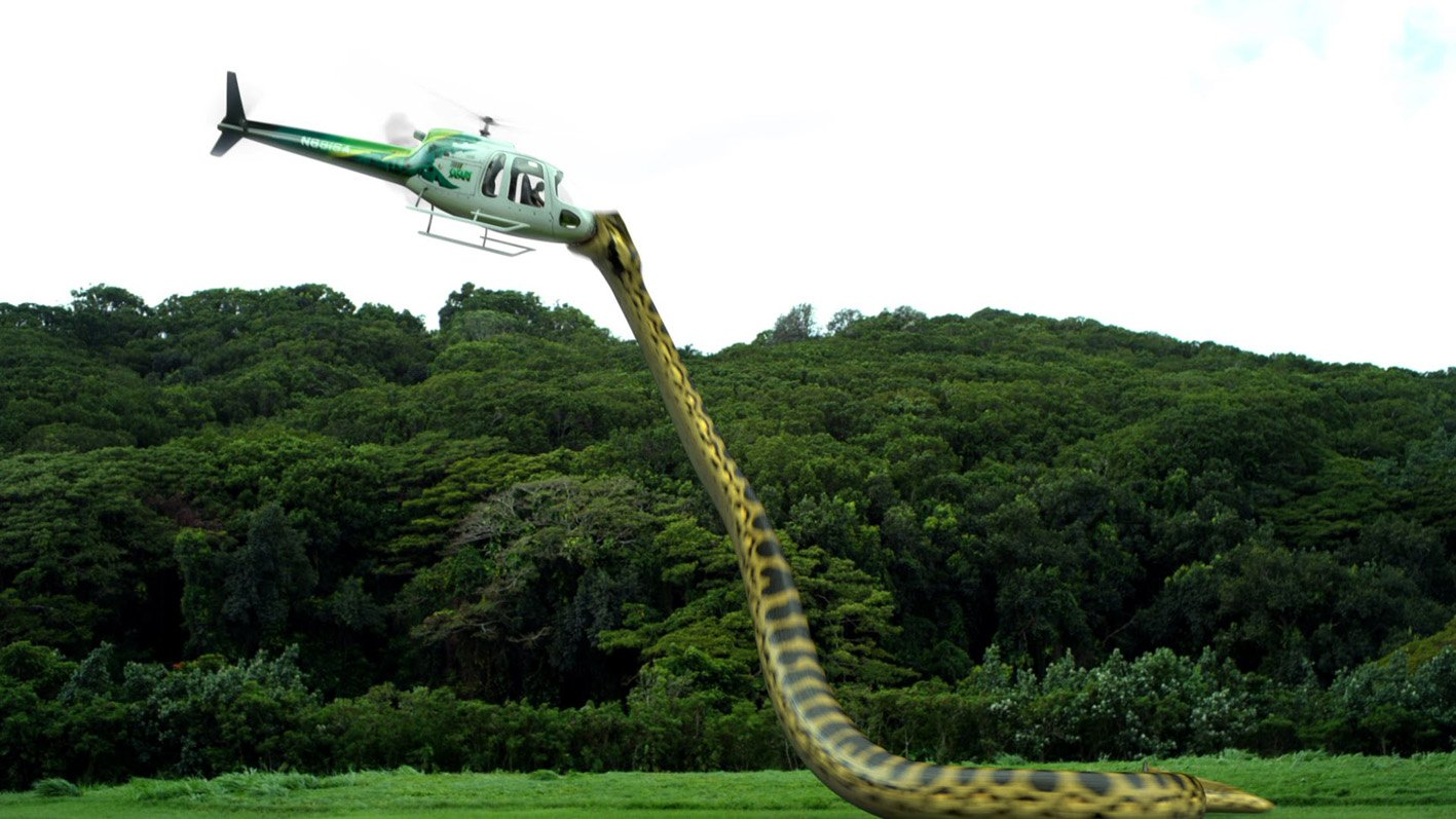 The Piranhaconda reaches up to attack a helicopter