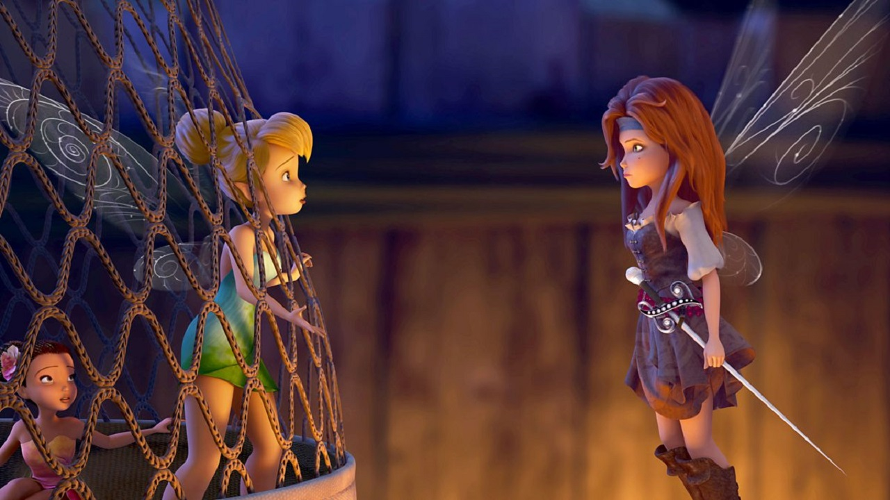 Tinkerbell (voiced by Mae Whitman) and Zarina (voiced by Christina Hendricks) in The Pirate Fairy (2014)