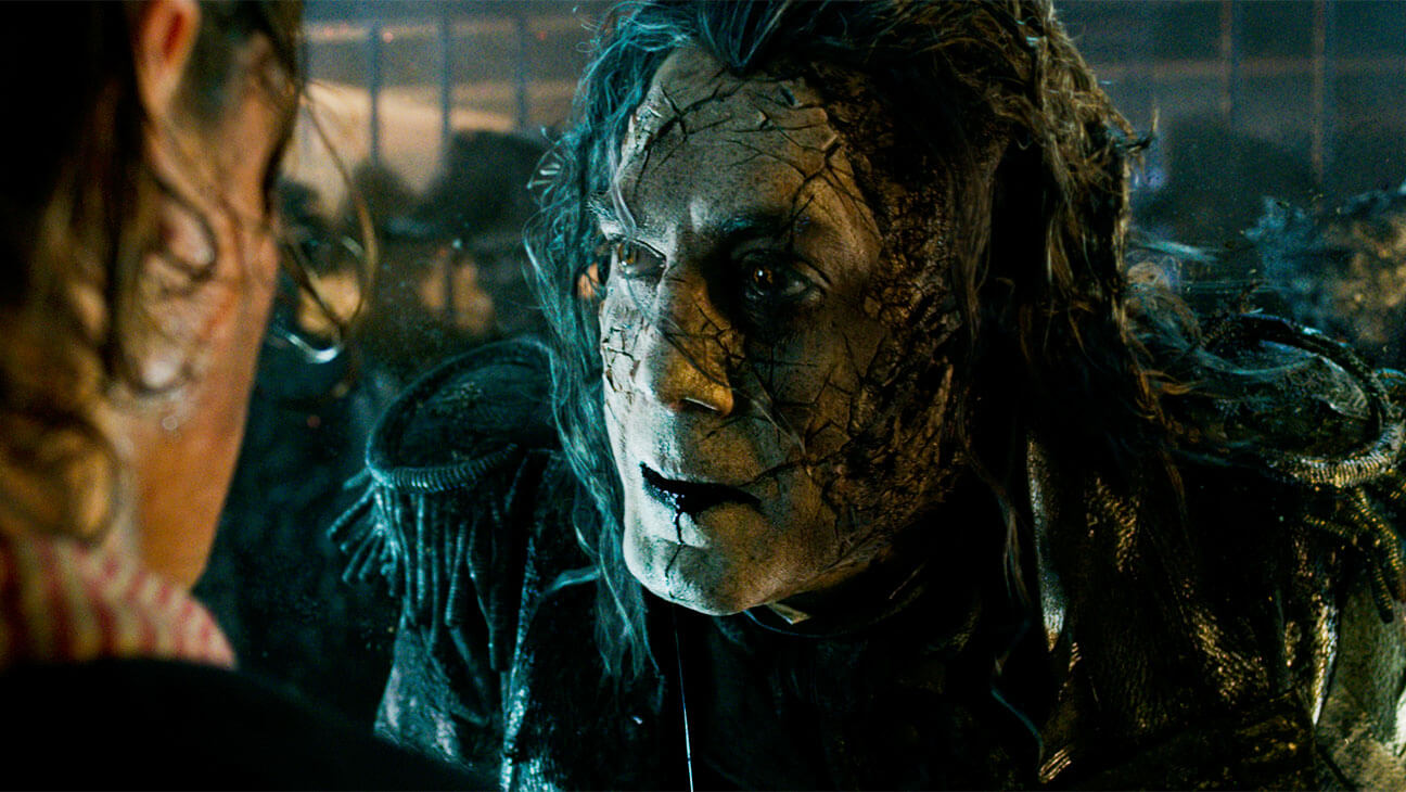 The undead Captain Salazar (Javier Bardem) in Pirates of the Caribbean: Dead Men Tell No Tales (2017)