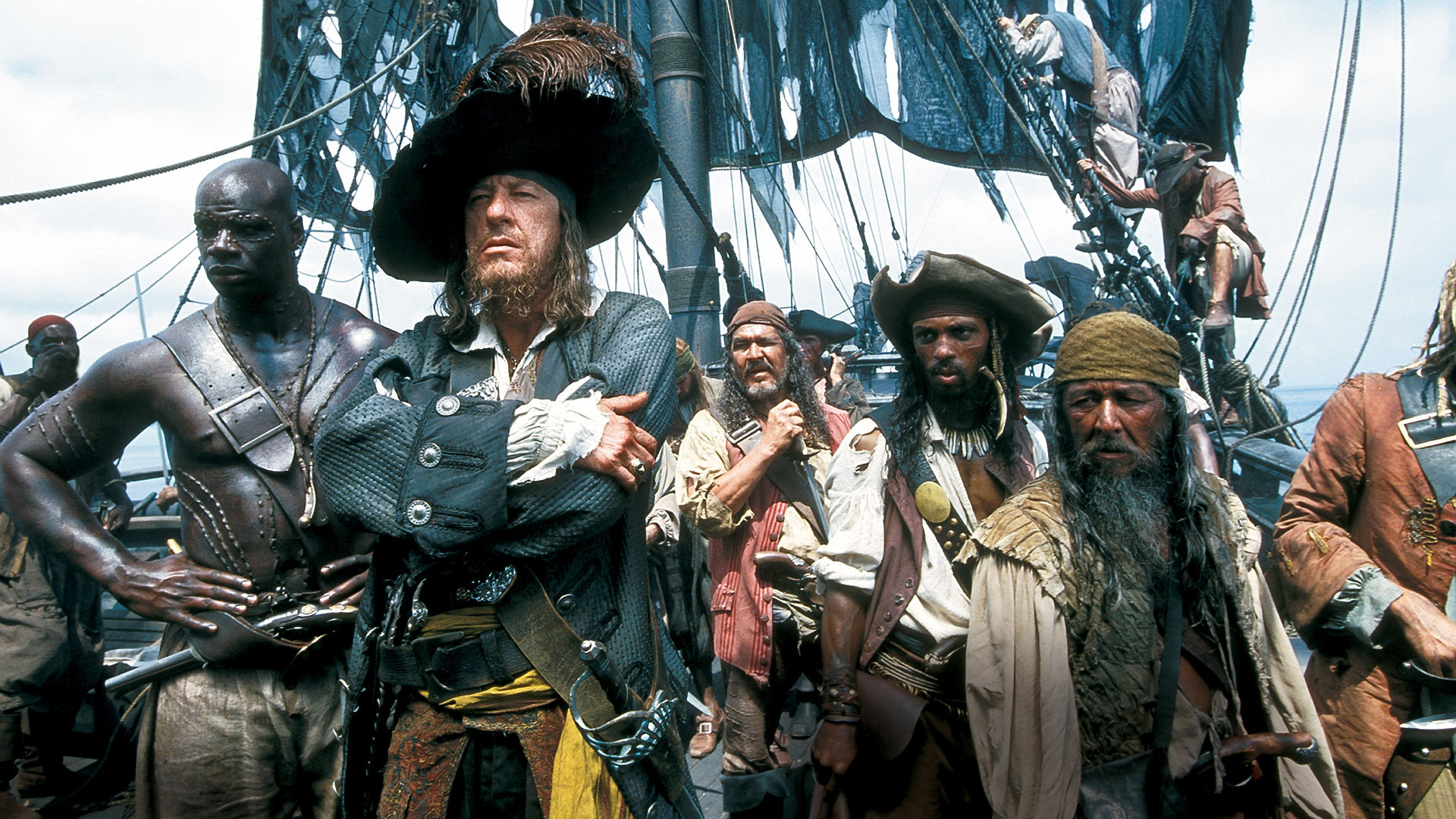 Captain Barbossa (Geoffrey Rush) and his crew of cursed pirates in Pirates of the Caribbean: The Curse of the Black Pearl (2003)
