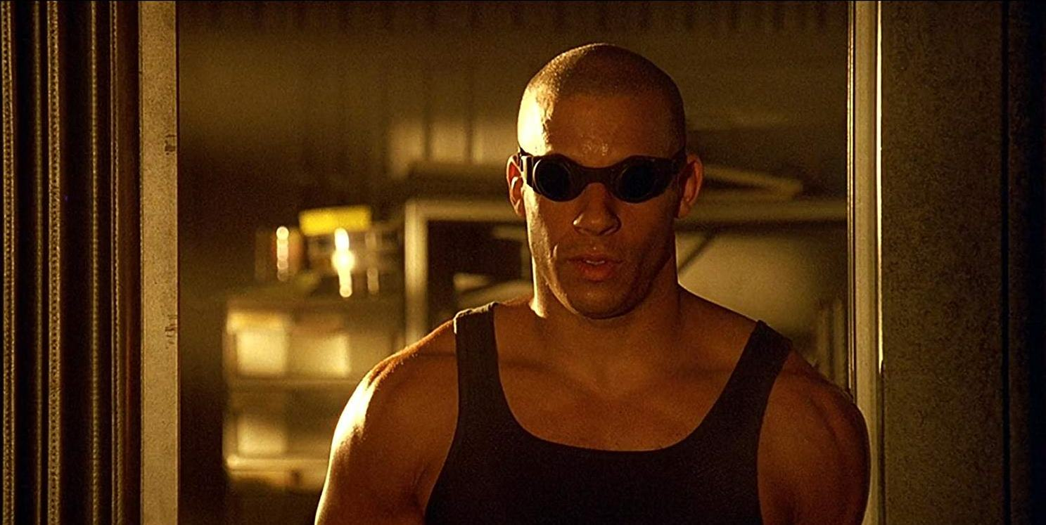 Vin Diesel in his breakout performance as the serial killer Riddick in Pitch Black (2000)