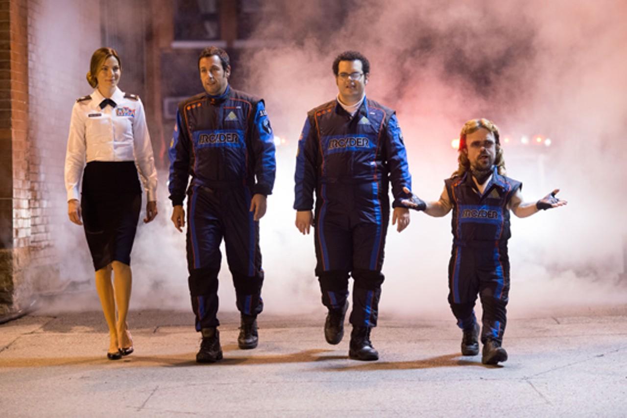 Michelle Monaghan, Adam Sandler, Josh Gad and Peter Dinklage in Pixels (2015)