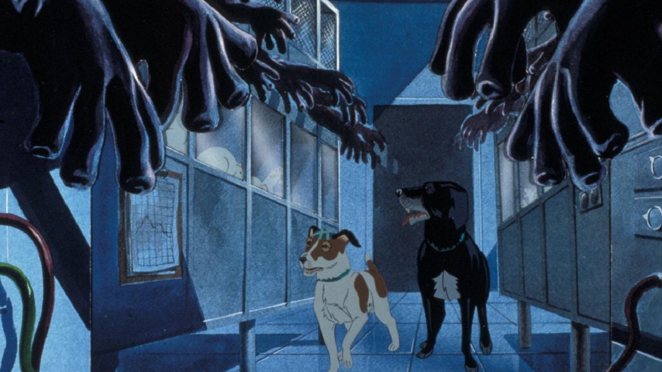 (l to r) Snitter and Rowf get free in the laboratory in The Plague Dogs (1982)