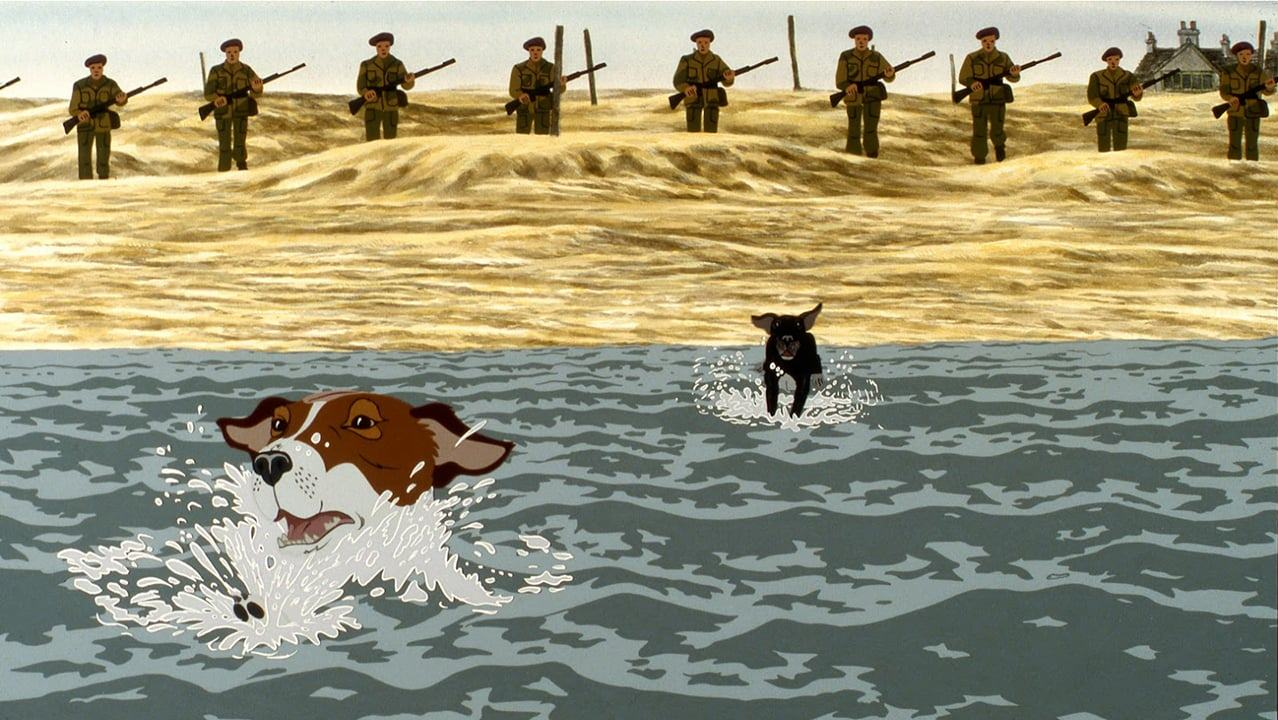 The heart-wrenchingly bleak ending where Snitter and Rowf flee into the ocean from the soldiers in The Plague Dogs (1982)