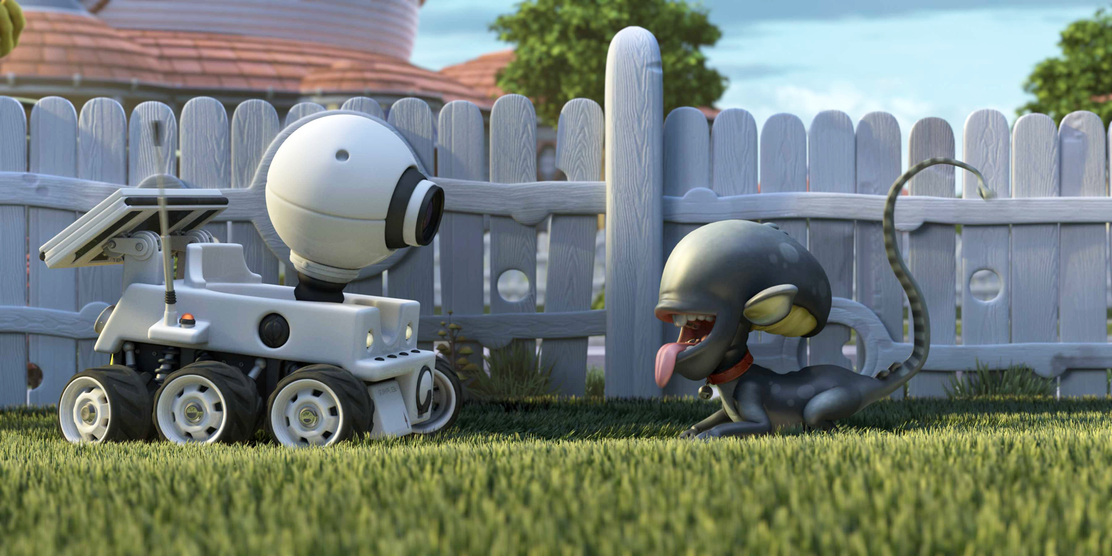 The scene-stealing non-humanoids - Rover the mechanical rover and Ripley the Alien-modeled puppy in Planet 51 (2009)