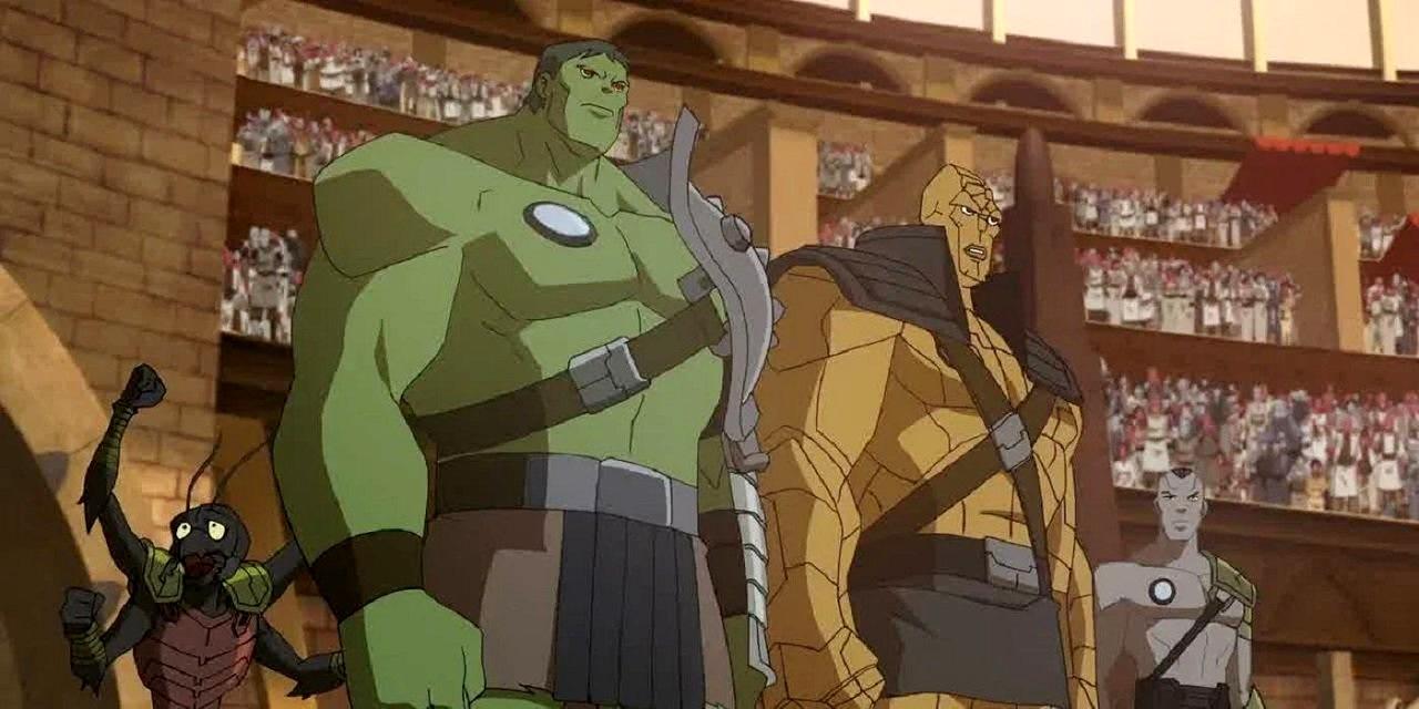 In the arena on Sarkaar - Miek, Hulk, Korg and Hiroim in Planet Hulk (2010)