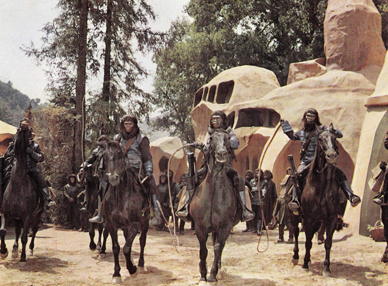 A world ruled by talking apes in Planet of the Apes (1968)