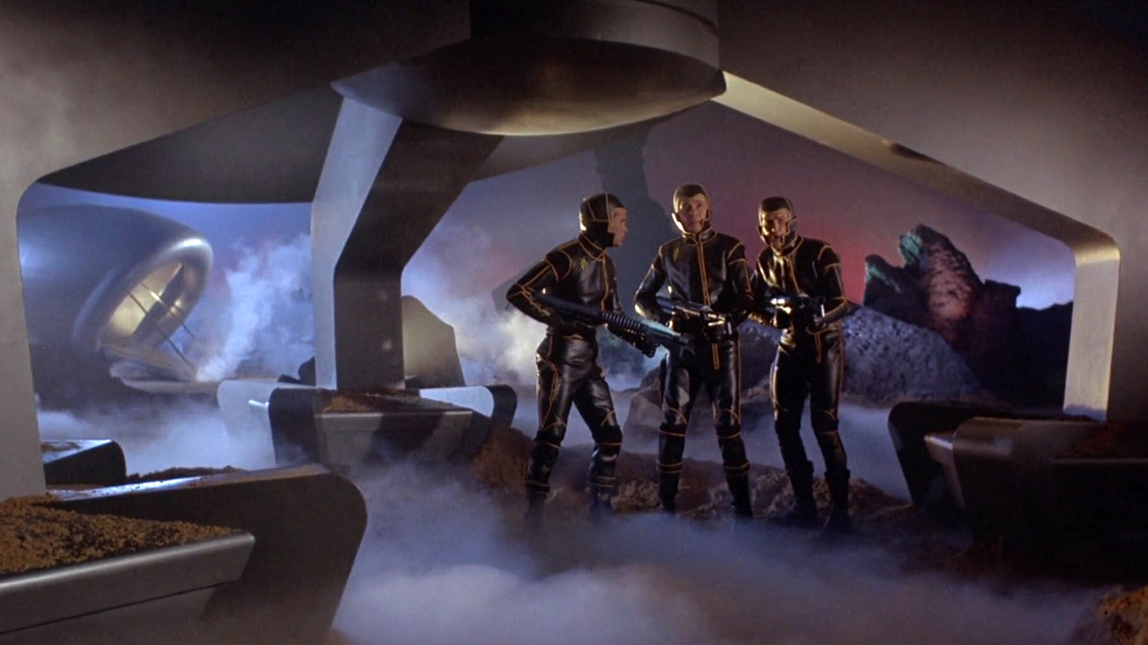 The crew of the Argos explore the planet in Planet of the Vampires (1965)