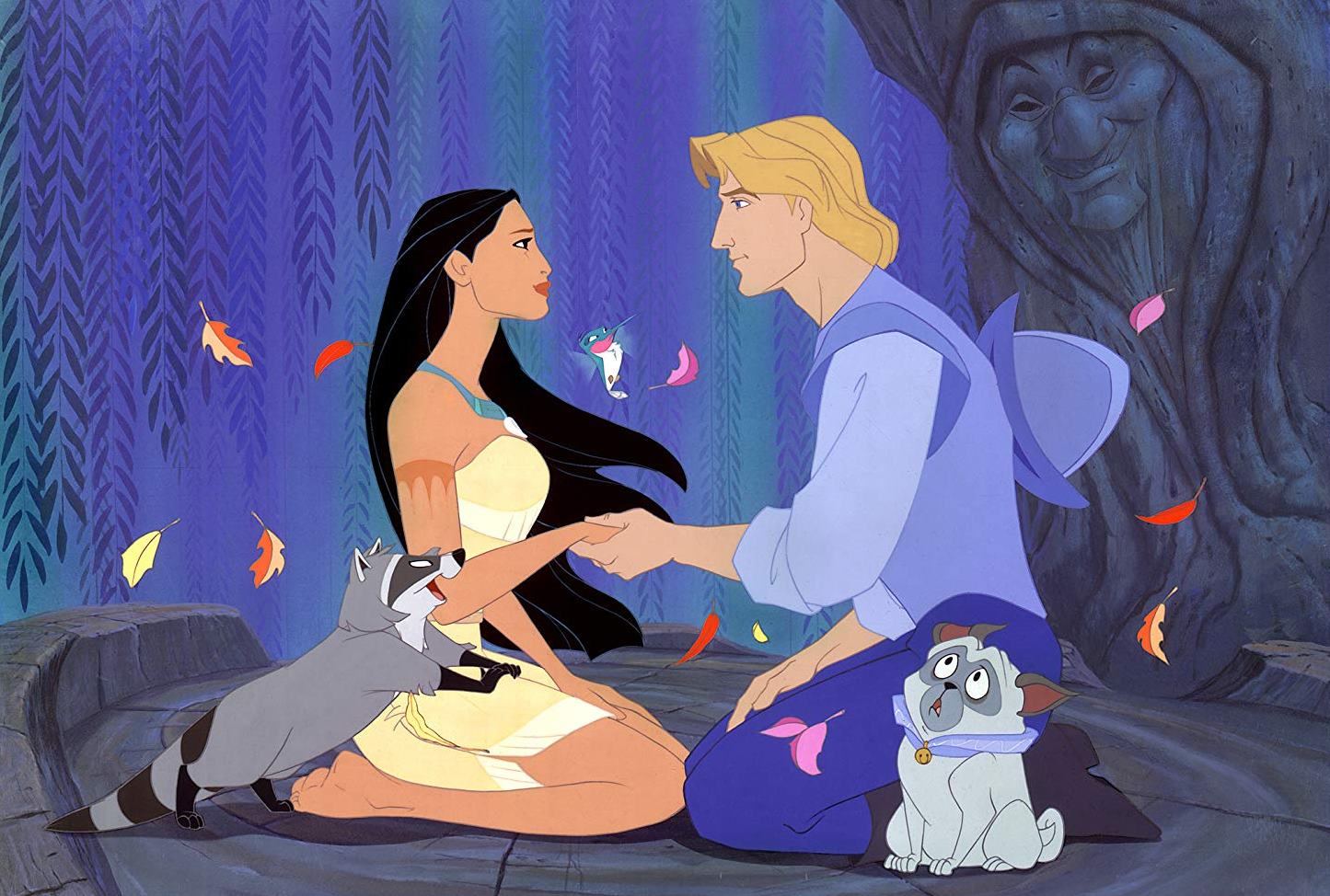 Romance between Pocahontas (voiced by Irene Bedard) and John Smith (voiced by Mel Gibson) in Pocahontas (1995) - a considerable liberalisation of the historical truth