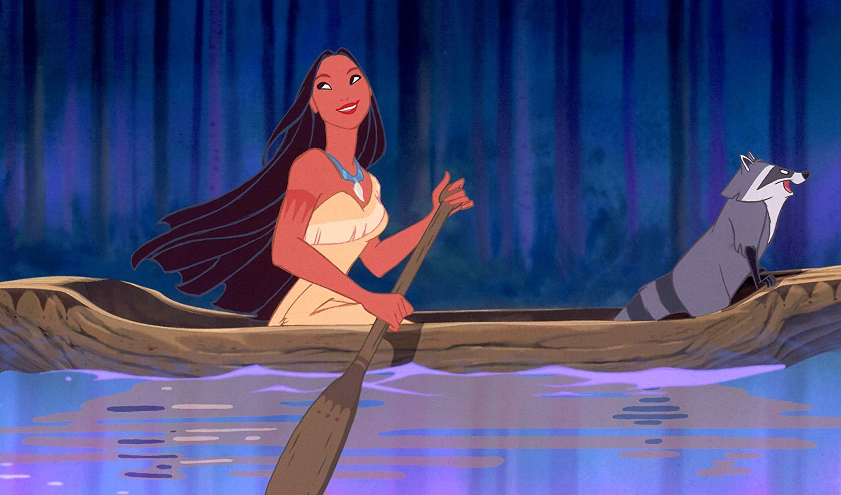 Pocahontas (voiced by Irene Bedard) and Meeko the racoon (voiced by John Kassir) in her canoe in Pocahontas (1995)