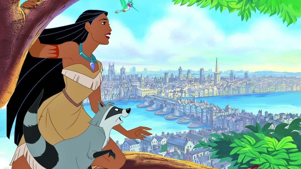 Pocahontas (voiced by Irene Bedard) travels to England in Pocahontas II: Journey to a New World (1998)